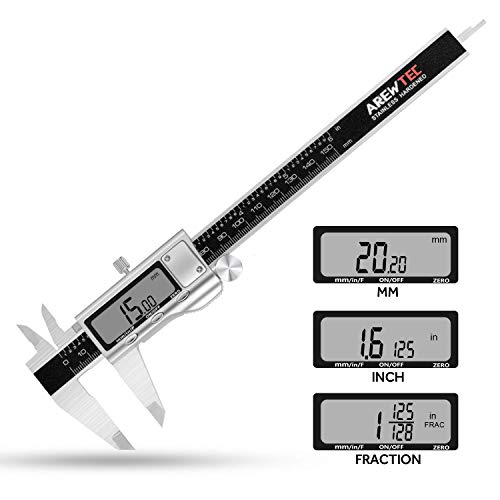 AREWTEC Calibre Digital, Pie de Rey 150mm, 3 Unidades: pulgadas/fracciones/métricas, Calibrador Electrónico de Acero Inoxidable, DCN15A Impermeable Micrómetro de Alta Precisión, Pantalla LCD