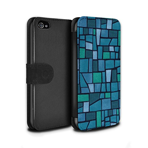 Stuff4 Coque/Etui/Housse Cuir PU Case/Cover pour Apple iPhone 4/4S / Multipack (9 Pcs) Design / Carrelage Mosaïque Collection Bleu/Turquoise