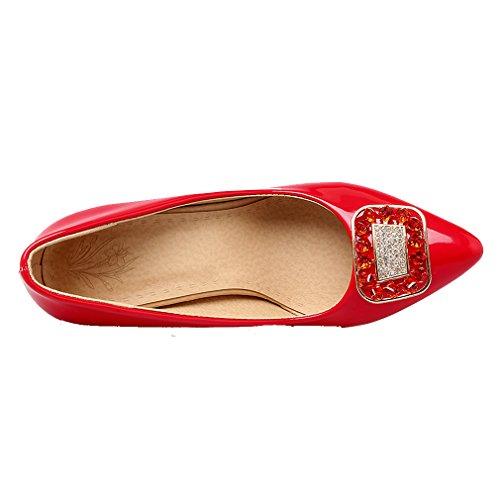 Trabalho Alto 10cm Escritório De De De Vermelho Com Salto Couro Bombas Vendas Apontou Vermelho Strass Estilete Sapatos Senhoras Únicos Ye De OqaI6F