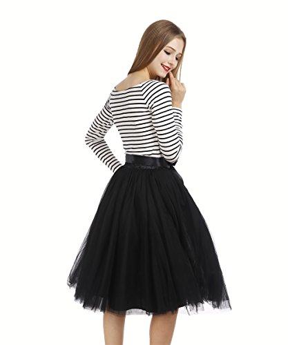 Petticoat 50er Jahre von COLLEER, Retro-Faltenrock perfekt zu Strick und Heels oder Sneakers, Unterrock für Hochzeit und Party, schwarz, Einheitsgröße -