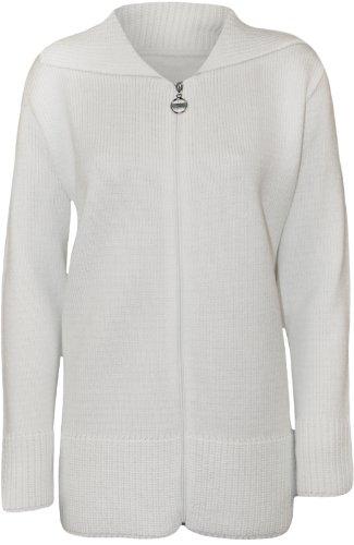 WearAll - Grande taille uni fermeture éclair col pull gilet top tricoté - Hauts - Femmes - Tailles 42 à 56 Blanc