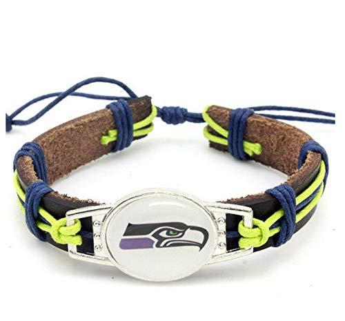 Guojiahao Sport Schmuck Charm verstellbar Leder Manschette Armband für Frauen, Seattle Seahawks - Seahawks-schmuck Seattle