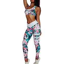 Morbuy Yoga Conjunto de Mujer, Mujeres Chaleco Deportivo Top and Leggings Gimnasio Ropa Chándal Yoga Fitness Deportes Estiramiento (L, Verde)
