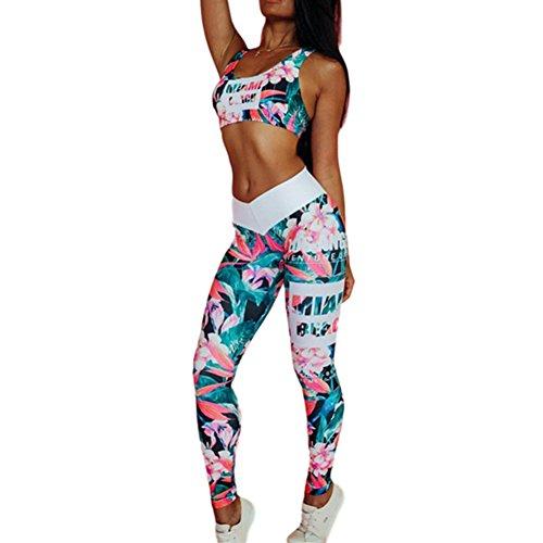 849ea6cf043b53 Morbuy Yoga Conjunto de Mujer, Mujeres Chaleco Deportivo Top and Leggings  Gimnasio Ropa Chándal Yoga Fitness Deportes Estiramiento (S, Verde)