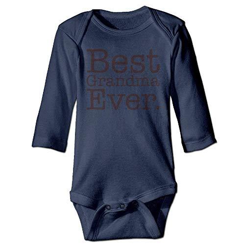 VTXWL Unisex Infant Bodysuits Best Grandma Ever Boys Babysuit Long Sleeve Jumpsuit Sunsuit Outfit Navy