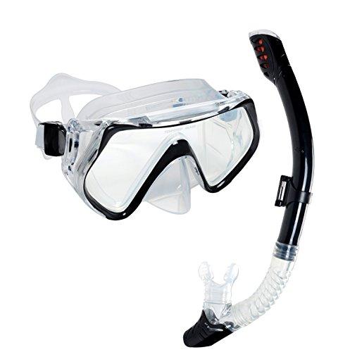 Obosoe Masken- und Schnorchel-Set, kein Beschlagen, für Erwachsene und Kinder, Schwarz / Weiß