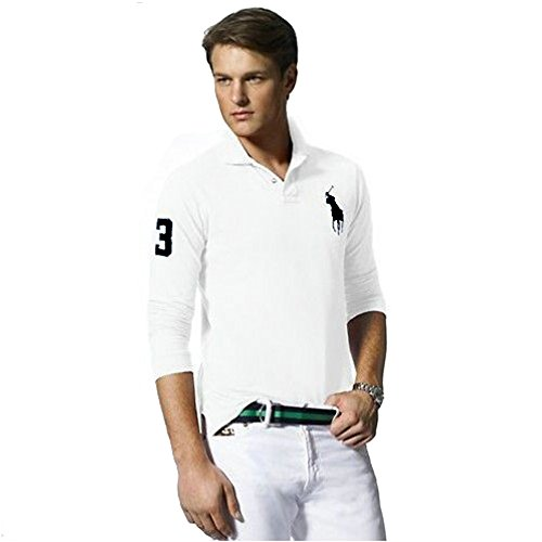 Ralph Lauren Langarm Poloshirt Big Pony Custom Fit (XL, Weiß) -