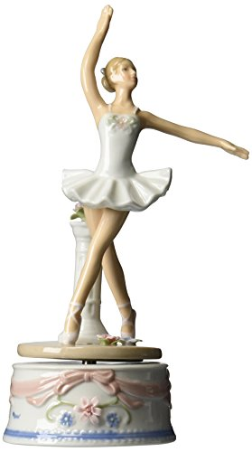 COSMOS 10623Ballerina aus feinem Porzellan in Weiß Kleid Musical Figur, 9Zoll -