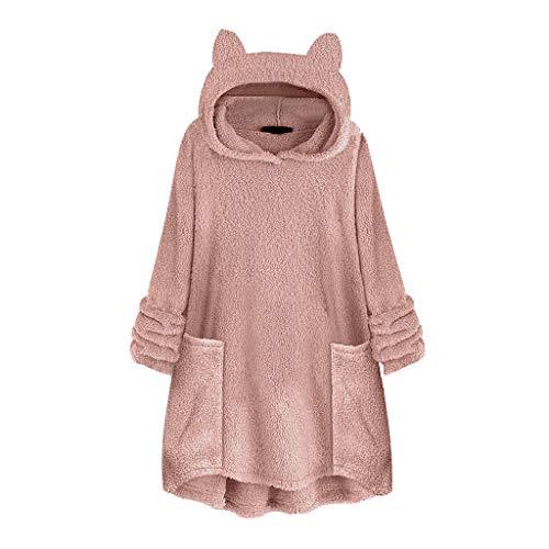 TUDUZ Katzenohren Kapuzepullover Damen Plüsch Große Größe Sweatshirt Drucken Pullover Langarm Tunika Hoodie Tops Bluse Oberteile mit Taschen(D-Rosa,X-Large)