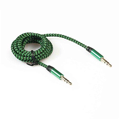 Aotejia Cavo di estensione audio maschio del maschio del Jack di 1M 3.5mm cavo di estensione audio maschio auricolare 3.5mm per la cuffia dellautomobile di iPhone blu verde