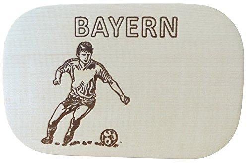Fußball-schneidebrett (Kaltner Präsente Geschenkidee - Brotzeit- und Schneidebrett, Holzbrett natur aus Ahorn mit Motiv BAYERN FUSSBALL)