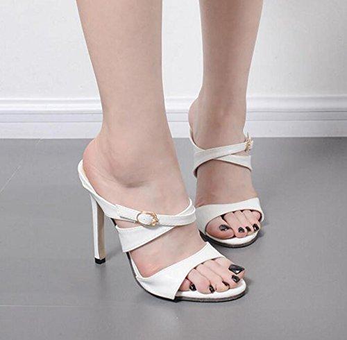 Beauqueen Pattini di cuoio chiffoni OL del piede delle pecore OL di edizione limitata di modo Scarpe di Comfortbale del casual del tallone dello stilo White