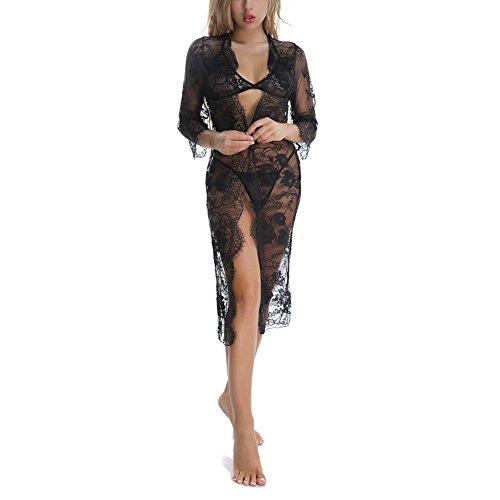COUXILY Damen Baby Dolls & Negligees Dessous Erotik Damen Set Hot Frauen Negligee Nachthemd-Wäsche-Spitze-schöner Schwarzer Wäsche-Langer Kimono (Schwarz, M)