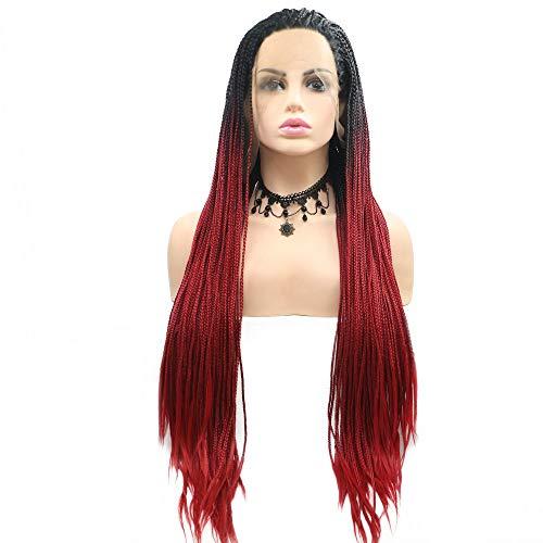 Pelucas trenzadas Drag Queen Afro America Box con raíces negras, de color rojo sirena, con encaje frontal...