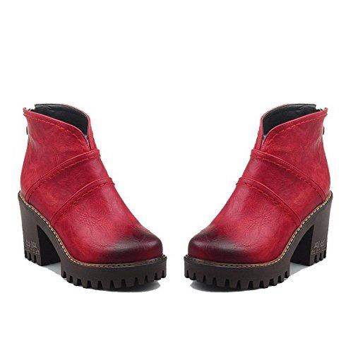 VogueZone009 Donna Punta Tonda Bassa Altezza Tacco Alto Puro Stivali Rosso