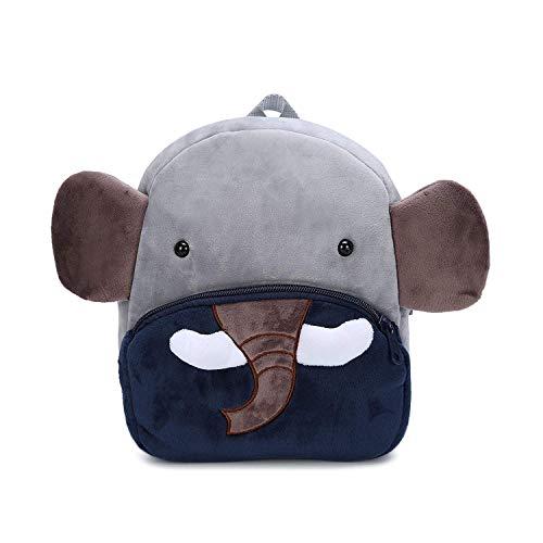 GENOLD Zaino Asilo Bimba Animali Cartoon Mini Nido Peluche Bambini nimato Carino per Bambina Bambino 1-3 Anni Cute Backpack-Elefante