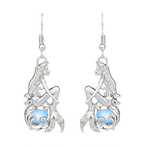 Profusion Circle Fashion Luminous Hollow Mermaid Hook Earrings Womens Girls Party Jewelry