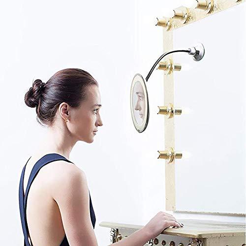 ZYFWBDZ Make-up-Vergrößerungsglas, 10x Vergrößerungs-Gooseneck-runder Eitelkeits-Spiegel 360 Grad mit geführten Licht-tragbaren -