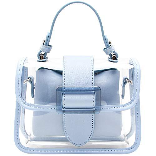 Bedolio einfache transparente Schulter Umhängetasche Mode Zipfel PVC Handtasche Kette Tasche, blau