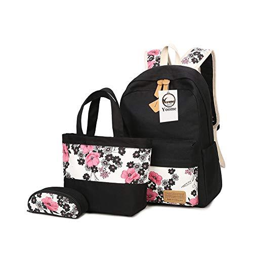 Yoome Fashion zaino in tela per adolescente ragazze floreale borsa fasciatoio studenti Bookbag 3pz Set
