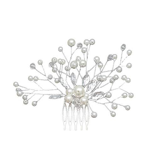 arkamm, Kristall Perle Blume Haarnadel Clip, Hochzeit Brautjungfer Haarschmuck, spezielles Design Kopfschmuck für Hochzeit Geburtstag Party Bankett,haarkämme hochzeit (Weiß) ()