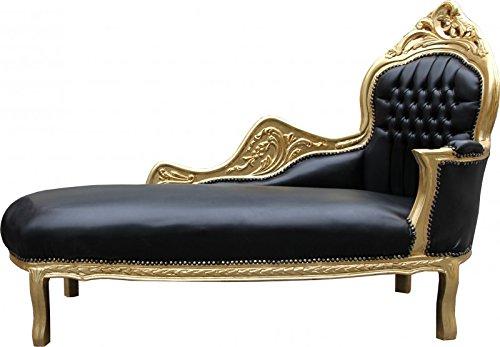 Casa Padrino Barock Chaiselongue Mod2 Schwarz/Gold Lederoptik- Barock Möbel