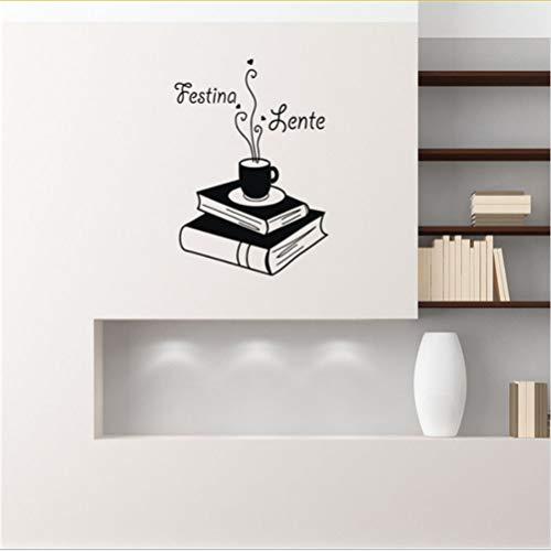 Lkfqjd Festina Lente Zitat Wandtattoo Buch Kaffee Abnehmbare Vinyl Wandaufkleber Wohnkultur Schlafzimmer Kunst Wand Tattoo Coffee Store 56 * 73 Cm