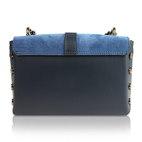Glamexx24 Damen Clutch echt Leder Tasche Abendtasche mit Kette Handtasche Umhängetasche Made in Italy 1.013.6 Blau
