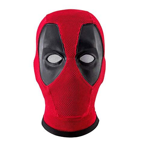 Wellgift DP Maske Wade Wilson Cosplay Kostüm Halloween Hero Voller Kopf Rot Gestrickte Helm Kopfbedeckungen für Erwachsene Herren & Damen