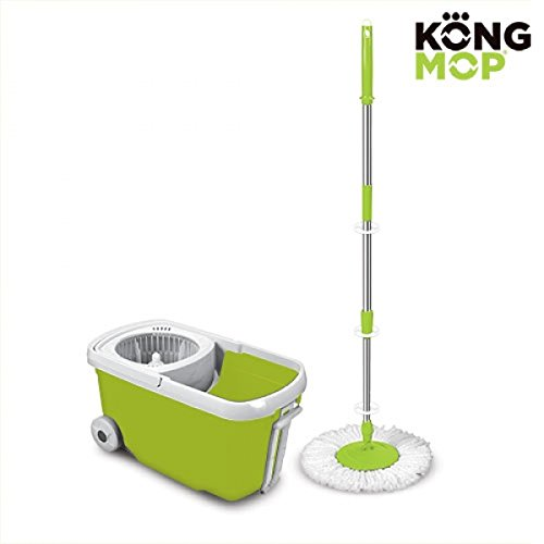 Omnidomo kong mop, mocio girevole e secchio con rotelle, manico estensibile, ricambio in microfibra, verde, 27 x 26 x 48 cm