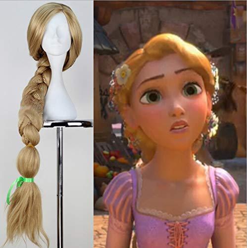 Party Queen Rapunzel-Perücke, lang, blond, geflochtenes Haar, hitzebeständig, für Halloween, Rollenspiele, langer Pferdeschwanz, für Erwachsene, goldene Perücke