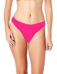 20ddb78a3ba SAYFUT Trendy Women Pleated G-String Bikini Bottoms Brazilian Thong  Swimwear Lady V Cheeky Bikini Bottom Nyoln…