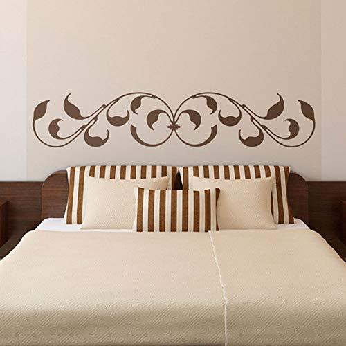 Jixiaosheng Bett Kopfteil Wandaufkleber.Klassisches Ornamental Design Mit Blättern Und Barock-Inspirierten Oberflächen Bedhead Wall Deco 108 * 21Cm -
