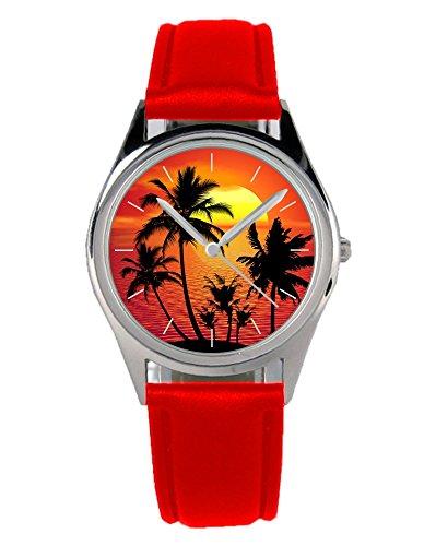 Uhr Palme (Palmen Geschenk Artikel Idee Fan Uhr 20009-B-Rot)
