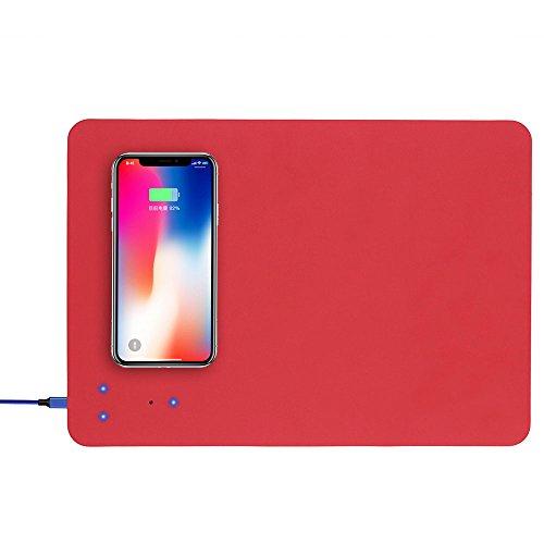 XIHAMA Qi Dispositivo Tappetino per Mouse Caricabatterie Wireless Veloce, Tappetino di Ricarica PU per Telefono Cellulare Universale(Rosso)