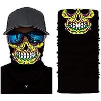 Zhuhaimei,Máscara de patrón de cráneo Multifuncional para Actividades de Ciclismo al Aire Libre(Color:Negro,Size:LEO-015)