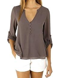 Mousseline Tops,OverDose Womens Lâche à Manches Longues Blouse Casual Shirt Mode Blouse