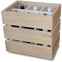 scatoa–Botellero para 6botellas de roble–PART–Hecha a mano