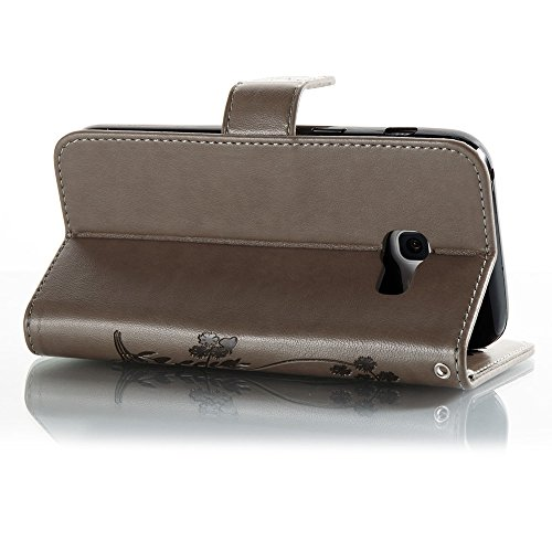 EKINHUI Case Cover Solid Color Faux Leder Bookstyle Brieftasche Stand Case mit geprägten Flower & Lanyard & Card Slots für Samsung Galaxy A3 2017 ( Color : Brown ) Gray