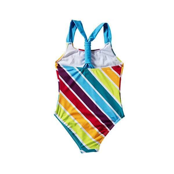 Heetey - Traje de baño para niña, Bikini para niña, diseño de Rayas Multicolor con triángulo y Hombros Anchos 1