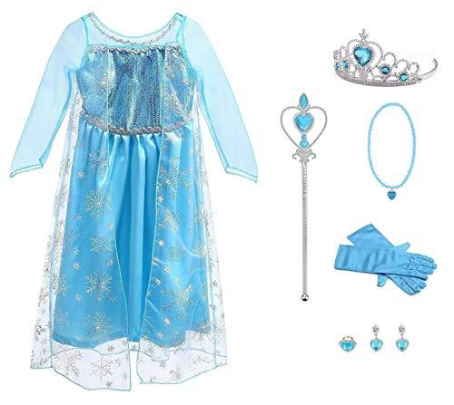 Funnycokid Toddler Mädchen Kleid Blau Up Langer, bodenlanger roter Umhang Kinder Fancy Prinzessin Deluxe Kleid Blau mit (Deluxe Eis Prinzessin Kostüm)
