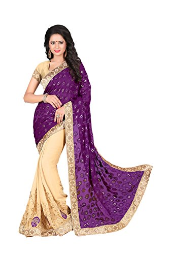 Chigy Whigy Purple Fancy Brasso Casual Wear Sarees