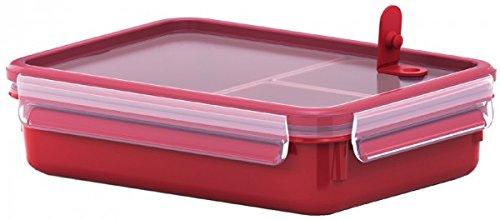 Emsa Mikrowellendose, Lunchbo mit Einsätzen, 1,0 Liter, Rot/Transparent, Clip & Micro, 517774