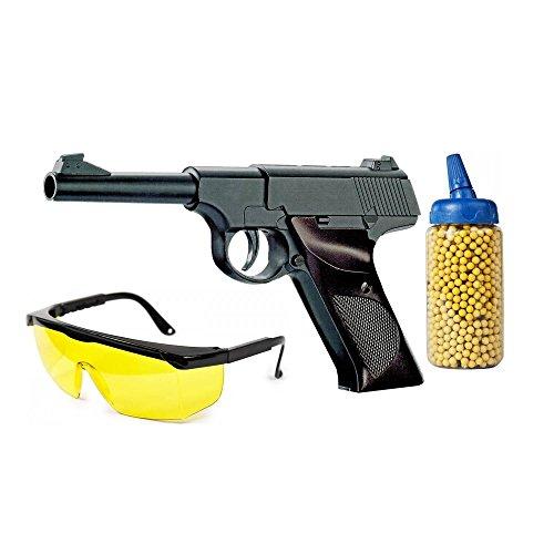 Softair-Pistole Waffe Matell WW2 mit Schutzbrille und Munition 1000 Kugeln schwarz unter 0,5 Joule ab 14 Jahre Kinder-Pistole Spielzeug-Pistole Air-Soft (Bb Airsoft Billig Gun)