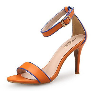 LvYuan Damen-Sandalen-Büro Kleid Party & Festivität-Leder-Stöckelabsatz-Club-Schuhe-Schwarz Orange Black