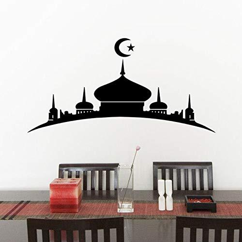 jiushizq Islamische Moschee Wandaufkleber PVC Selbstklebende Wanddekor Ramadan Haus Dekoration Wohnzimmer Dekoration Muslim Tapete 59 cm x 117 cm - Rallye Racing Räder