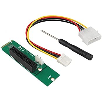 HALJIA PCI-E 4X Female to NGFF M.2 M Key Male Adapter Power Cable with Converter Card (6) M.2M