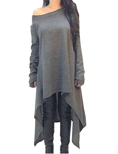 Frauen Grau Asymmetrische Pullover Kleid Langarm Strickwaren (EU 38) (Baumwolle Asymmetrische Pullover)