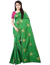 055d529800657 Shree Ram Krishna Soft-Silk Plain Saree With Blouse Piece Material (Green
