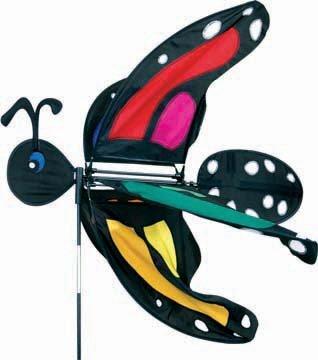 Birdbath Statue (Premier Kites Flying Creature Wind Spinner–Lady Regenbogen Schmetterling Monarch (hellgrauen Pfotenabdrücken))